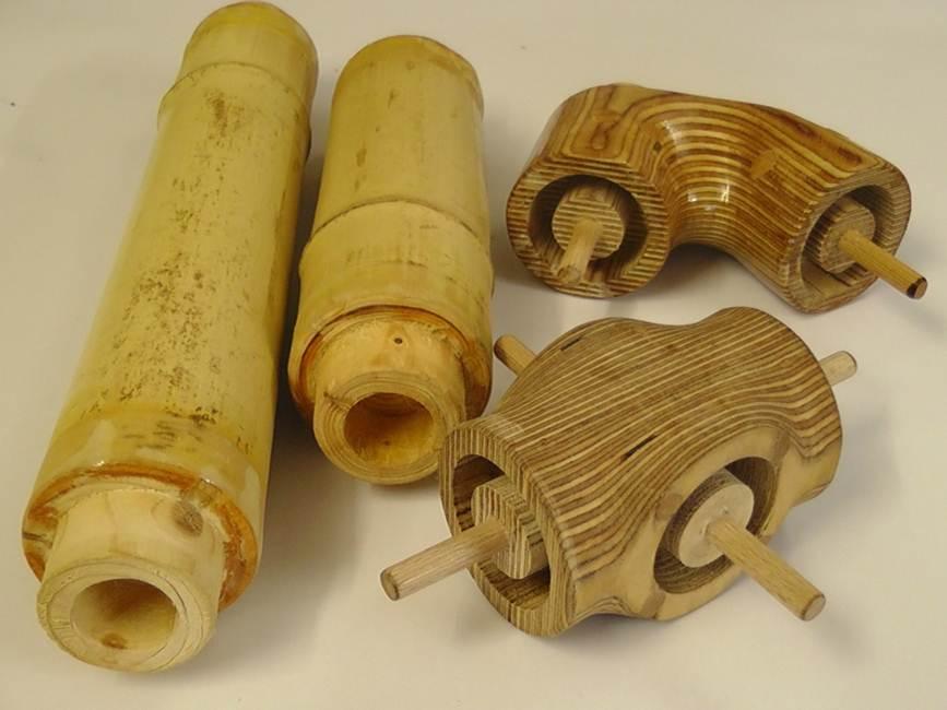 Bambutec Komponenten: bearbeitete und gefräste Bambusstäbe, CNC-gefräste Verbindungselemente aus Holz