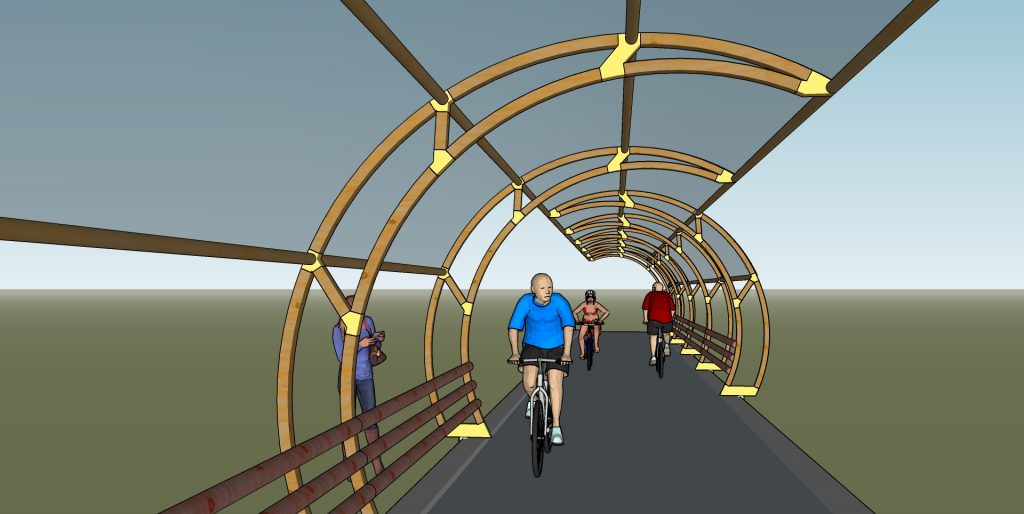Top view of the round shaped bike path shelter.