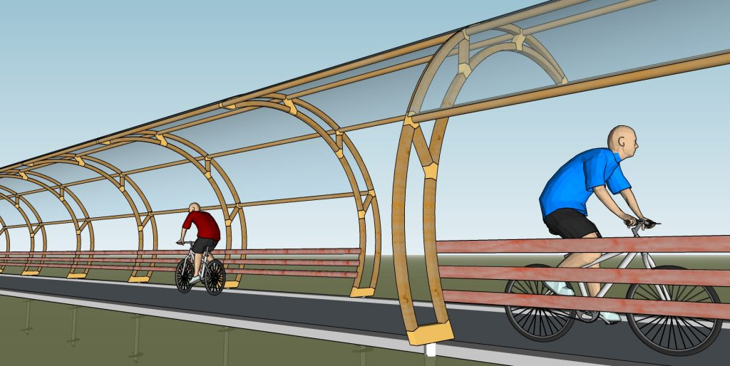 View of the round shaped bike path shelter.