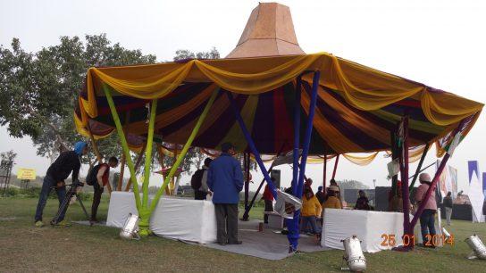 Bambus Feuerhut in Parks Neu Delhis