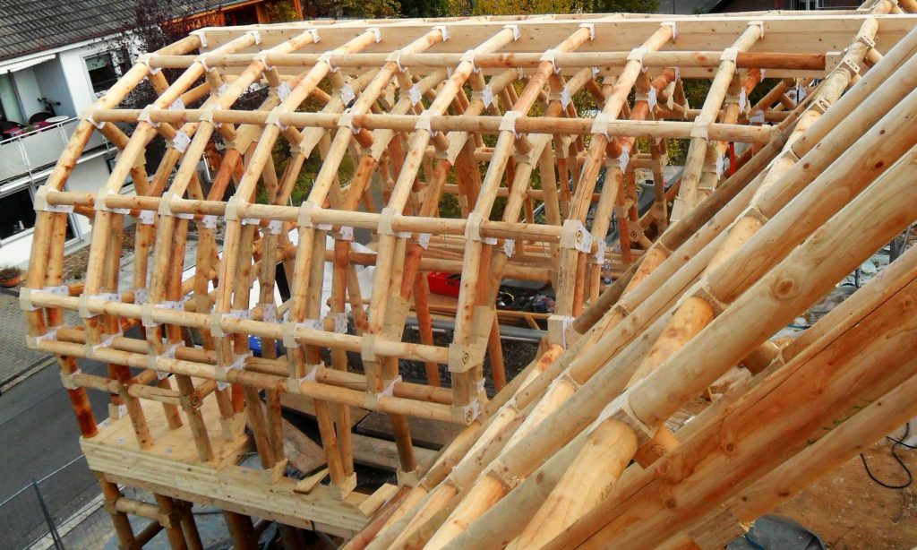 Wood-framework skeleton of residential home