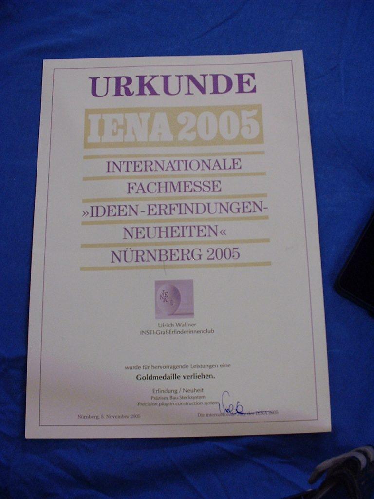 Urkunde zur Gold Medaille IENA 2005