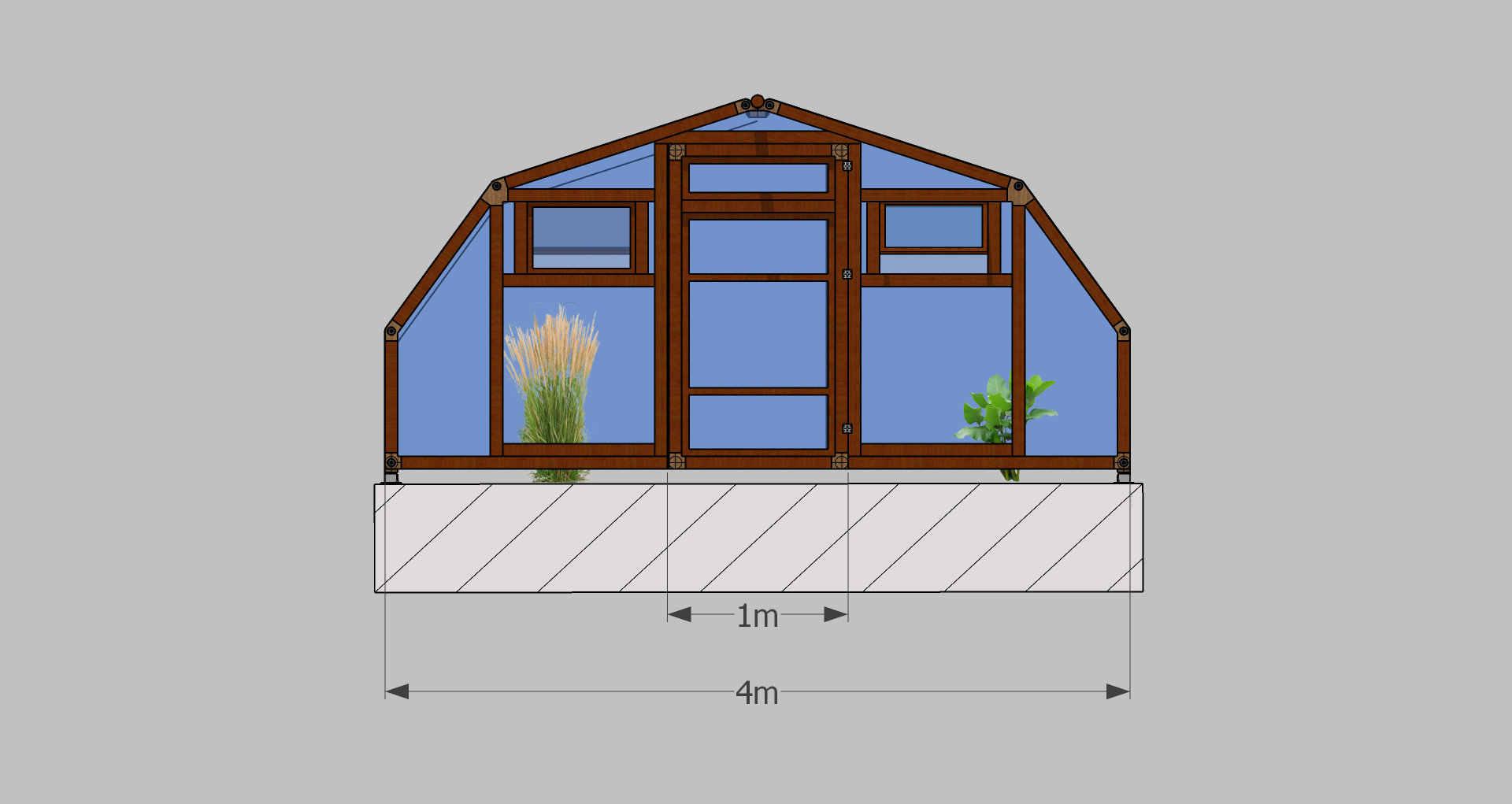 Maße des modularen Gewächshauses